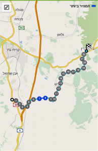 מפת מסלול מבית גוברין לתל קשת