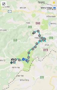 מפת שביל ישראל מהסטף לבר גיורא