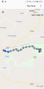 מפת מסלול ממיתר לבית היערן