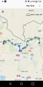 מפת מסלול שביל ישראל מבית אוסישקין לתל חי