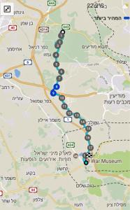 מפת שביל ישראל מאלעד למצפה מודיעין