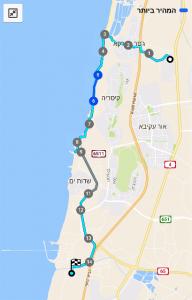 מפת שביל ישראל - מבית חנניה לחדרה