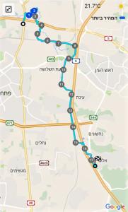 מפת שביל ישראל - מהוד השרון לאלעד