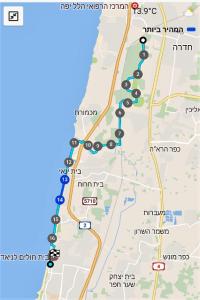 מפת שביל ישראל - מחדרה לנתניה