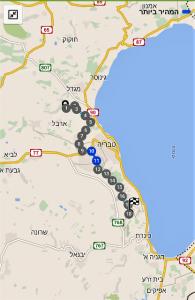 מפת שביל ישראל ממגדל לפוריה