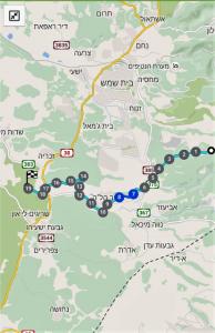 מפת שביל ישראל ממטע לתל עזקא