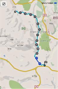 מפת שביל ישראל מעין בר יוחאי לצומת נחל עמוד