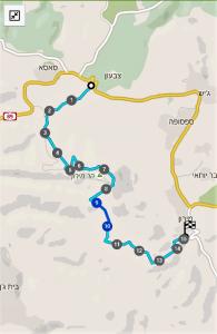 מפת שביל ישראל מצומת חירם לעין בר יוחאי