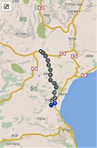 מפת שביל ישראל - מצומת נחל עמוד למגדל