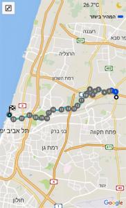 מפת שביל ישראל - מתל אביב להוד השרון